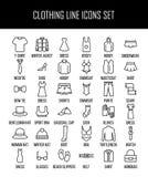 Uppsättning av klädsymboler i den moderna tunna linjen stil Royaltyfri Bild