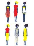 Uppsättning av klänningar och modemodeller Royaltyfri Bild