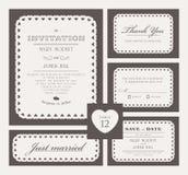 Uppsättning av klassiska bröllopinbjudningar stock illustrationer
