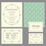 Uppsättning av klassiska bröllopinbjudningar royaltyfri illustrationer