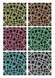 Uppsättning av klassiska rundade modeller på svart bakgrund Olika färgvarianter - vit, lilan, blått, gräsplan, guling, mörker - s Fotografering för Bildbyråer