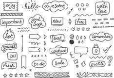 Uppsättning av klistermärkear, etiketter, etiketter Hand drog designbeståndsdelar för din stadsplanerare, organisatör, tidskrift  stock illustrationer