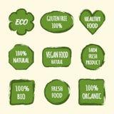 Uppsättning av klistermärkear för designetiketter Text ECO, gluten frigör 100%, H royaltyfri illustrationer
