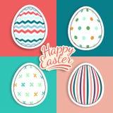 Uppsättning av klistermärkear för easter ägg med fantasimodeller Arkivbild