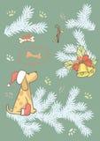 Uppsättning av klistermärkear för nytt år Gullig hand drog feriebeståndsdelar 2018 nya år nytt år för jul Julgran klocka, godis,  stock illustrationer
