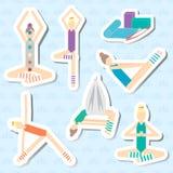 Uppsättning av klistermärkear för yoga, kondition, aeroyoga Sömlös modell med en kontur av en lotusblomma Plan design Arkivbild