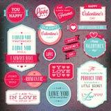 Uppsättning av klistermärkear och emblem för dag för valentin` s stock illustrationer