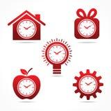 Uppsättning av klockan i olika former Arkivfoton