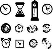 uppsättning av klockasymboler Arkivfoto