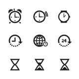 uppsättning av klockasymboler Royaltyfri Fotografi