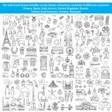 Uppsättning av klotter på temat av länder av Europa, Asien Royaltyfria Bilder