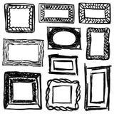Uppsättning av klotterramar och beståndsdelar vektor illustrationer