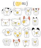 Uppsättning av klottret för 16 det gulliga hundkapplöpning Skissa hunden Royaltyfri Foto
