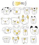 Uppsättning av klottret för 16 det gulliga hundkapplöpning Skissa hunden Royaltyfri Bild