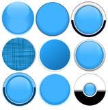 Uppsättning av knappar för mellanrumsblåttrunda Arkivbild