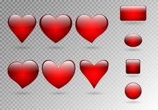 Uppsättning av knappar av hjärtor royaltyfri illustrationer
