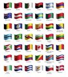 Uppsättning av knappar med flaggor stock illustrationer