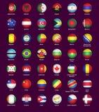 Uppsättning av knappar med flaggor royaltyfri illustrationer