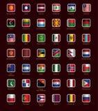 Uppsättning av knappar med flaggor Fotografering för Bildbyråer