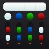 Uppsättning av knappar och strömbrytare i olika färger Royaltyfri Fotografi
