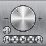 Uppsättning av knappen för volymljudkontroll, runda metallknappar med grundläggande ljudsignala symboler och med borstad textur stock illustrationer