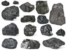 Uppsättning av av kol på vit arkivfoto