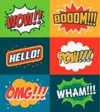 Uppsättning av komiska stiluttryck Bang överraskar, OMG stock illustrationer