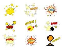 Uppsättning av komiska tecknad filmtextexplosioner stock illustrationer