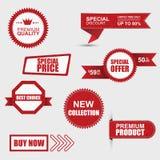 Uppsättning av kommersiella försäljningsklistermärkear, etiketter och baner Royaltyfria Foton