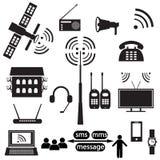 Uppsättning av kommunikationssymboler Arkivbilder