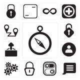 Uppsättning av kompasset, meddelande, strömbrytare som låsas, inställningar, användare, upp stock illustrationer