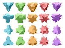 Uppsättning av komplexa geometriska former för vektor som baseras på tetrahedron Arkivfoto