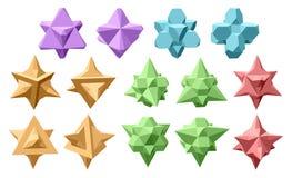 Uppsättning av komplexa geometriska former för vektor som baseras på två tetrahedrons Royaltyfri Foto