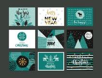 Uppsättning av konstnärlig idérik glad jul och det nya året Arkivbild