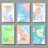 Uppsättning av konstnärliga färgrika universella kort Borstetexturer Borstetexturer Memphis stil vektor illustrationer