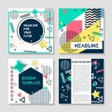 Uppsättning av konstnärliga färgrika universella kort Bröllop årsdag, födelsedag, ferie, parti Design för affischen, kort royaltyfri illustrationer