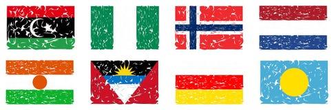 Uppsättning av konstnärliga flaggor av världen Arkivfoton