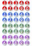 Uppsättning av konstnärliga nummerknappar med ramar i metallisk silverdesign i fyra röda färgvarianter -, slösa, göra grön, lilor Royaltyfria Bilder