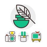 Uppsättning av konstsymboler i plana symboler för underhållning för palett för borste för designkamerabild och grafisk färg för k stock illustrationer