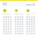 Uppsättning av kontaktsymboler stock illustrationer