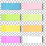 Uppsättning av kontorspappersark eller klibbiga klistermärkear med skugga som isoleras på en genomskinlig bakgrund vektor Royaltyfria Bilder