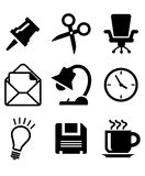 Uppsättning av kontorssymboler Arkivbild
