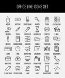 Uppsättning av kontorssymboler i den moderna tunna linjen stil Fotografering för Bildbyråer