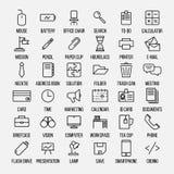 Uppsättning av kontorssymboler i den moderna tunna linjen stil Arkivbild