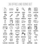 Uppsättning av kontorssymboler i den moderna tunna linjen stil Arkivfoton