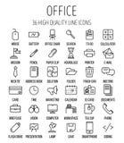 Uppsättning av kontorssymboler i den moderna tunna linjen stil Arkivfoto
