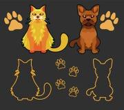 Uppsättning av konturer av husdjur, katten och hunden Arkivbilder
