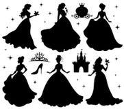 Uppsättning av konturer av prinsessan vektor illustrationer