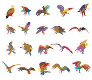 Uppsättning av konturer för örn för färgrik mosaikvektor amerikanska Royaltyfri Bild
