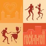 Uppsättning av konturer som dansar par Royaltyfri Fotografi